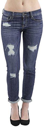 Eunina Women's Relaxed Stretch Skinny Jeans Slight Distress 7 Med. ()
