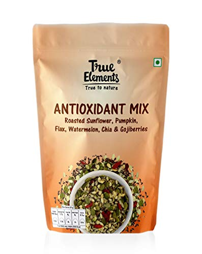 True Elements Antioxidant Seeds Mix – Roasted Sunflower, Pumpkin, Flax, Watermelon, Chia with Goji Berries 125gm – High in Protein