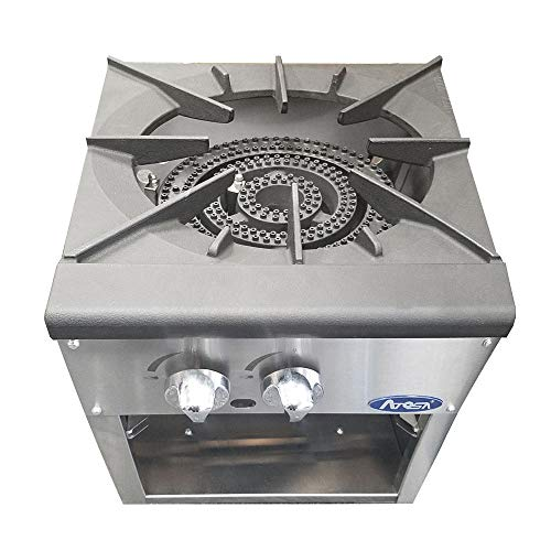 Atosa USA ATSP-18-1 (High BTU 80,000) Heavy Duty Stainless Steel Stock Pot Stove - Propane Double Burner ()