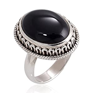 925 Oxidized Sterling Silver Natural Black Onyx Gemstone Oval Rope Edge Vintage Band Ring 6, 7, 8