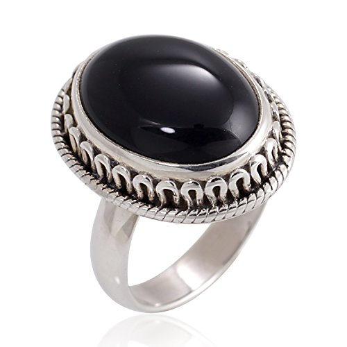 925 Oxidized Sterling Silver Natural Black Onyx Gemstone Oval Rope Edge Vintage Band Ring Size 7
