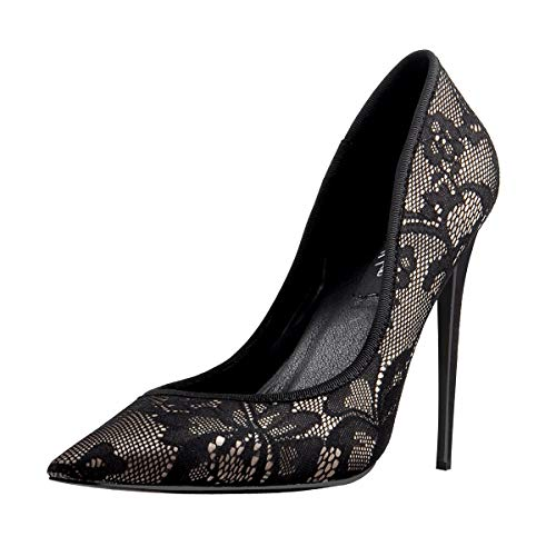 Onlymaker Womens Pointed Toe Stiletto High Heel Lace Pumps Sexy Slip On Party Dress Evening Prom Shoes Black 11 M US