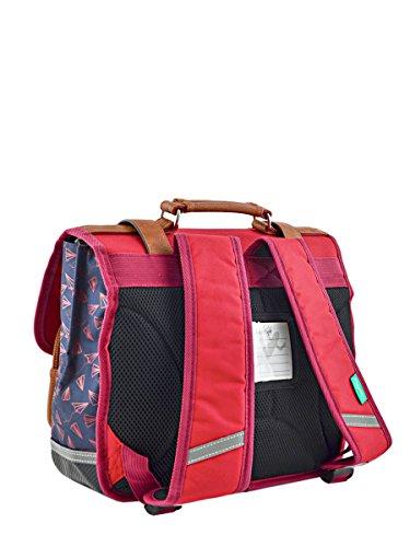 Schultasche Vintage für Kinder, vorne 2 Taschen im Leder-Look - 38cm - in 10 Farben erhältlich Plane Navy