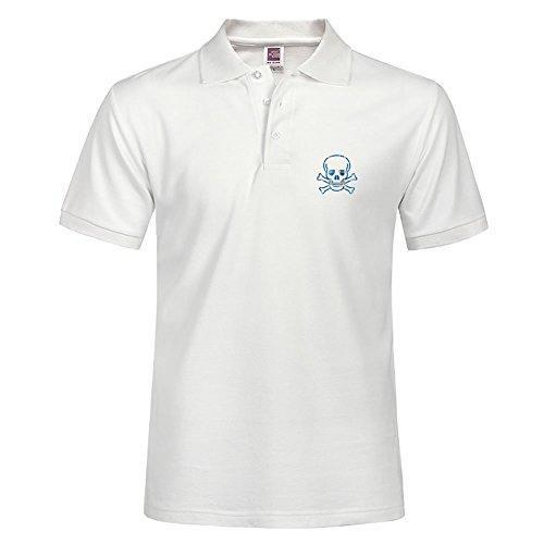 Skull & Cross Bones Blue Plaid Soft Polo Shirt Size Small Allow Machine Wash Skull & Cross Bones Blue Plaid Slim Fit For - Polo Factory Online
