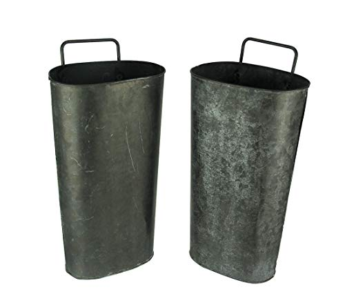 Distressed Black Washed Tin Wall Pocket Set of 2
