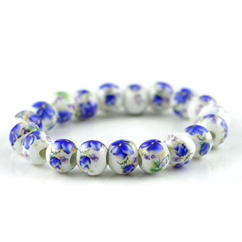 Jan Dee Flower Ceramic Beads Elastic Bracelet Christmas Gift For Girl