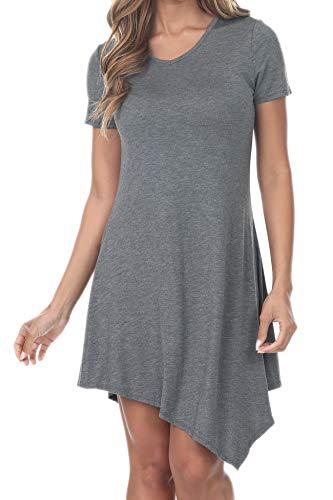 7004 Womens Short Sleeve Flowy Tops Handkerchief Hem Tunic Shirts Loose Dress Charcoal -