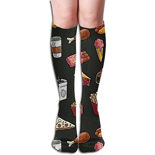 困惑した一般化するカバーファーストフード 3D印刷デザイン 女性の男性 秋と春 フリースタイルのデザインソックス ファッションかわいい 弾性 薄型 靴下 高校生 ティーンエージャー フォーシーズンズ