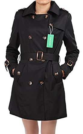 Galsang Women's Slim Double-breasted Wind Coats#bh41 (XS, Black)