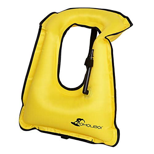 Omouboi Inflatable Snorkel Vest Men Women with Crotch Strap Snorkeling Vest for Adults-Yellow