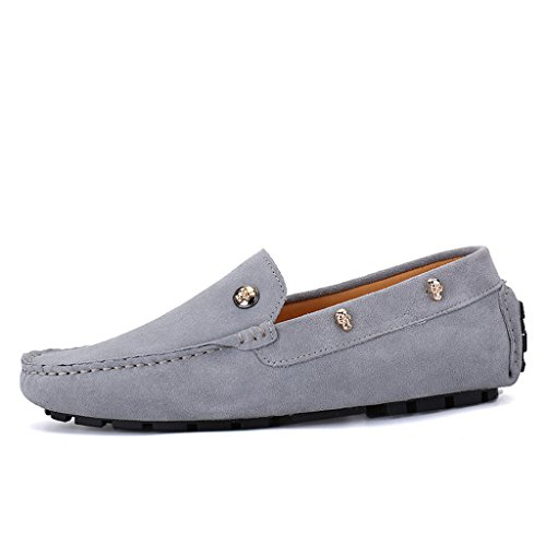 Eagsouni Mens Suede Leather Casual Loafers Smart Moccasin Shoes Slip On Driving Boat Flat Shoes #2grey nxCF3