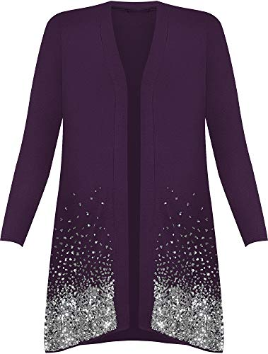 da maniche donna Viola maglietta lunghe Cardigan a taglia con forte 62 paillette brillante 44 qw5tTITf