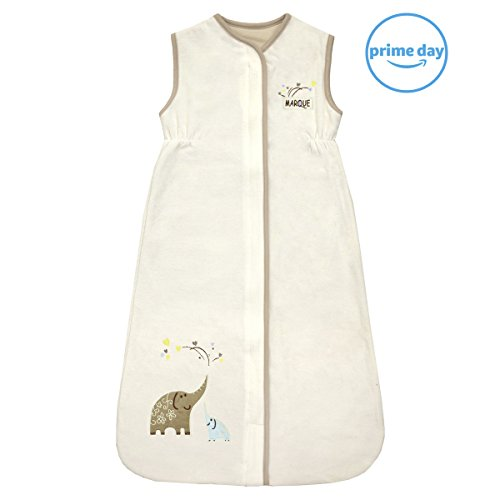 Unisex Baby Sleeping Bag - Super Soft Cotton Wearable Blanket - Creamy Elephant Medium