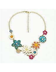 Qiyun Colorful Flower Beaded Festoon Lavalier Y Bib Choker Collar Gold Necklace