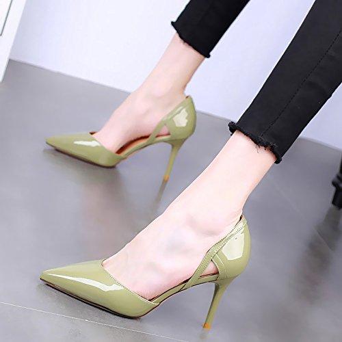 Vert GTVERNH-9Cm Hauts Talons Bien Fait Talon La Mode Les Chaussures De Femme Summer Petit Frais Creux Laque Wild Seul Les Chaussures. Thirty-six