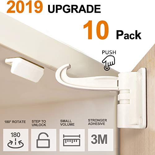 10 Pack Newest Cabinet Locks Child Safety Baby Proofing Cabinet and Drawers Latches, UPGRADED 3M Adhesives No Drilling No Screws Installation, Invisible Design White (10)