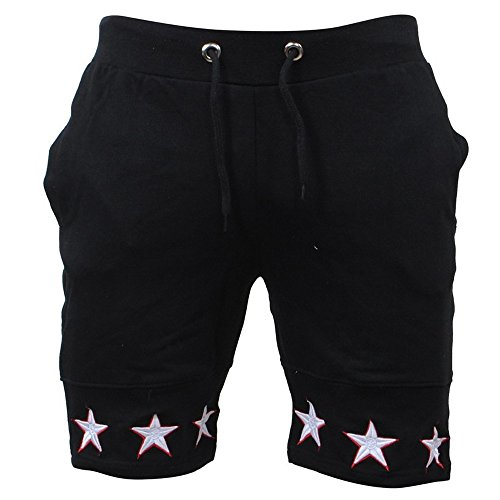 (JJLIKER Men's Classic Fit Casual Cotton Jogger Gym Workout Bodybuilding Shorts Pants with Elastic Waist Drawstring Black)