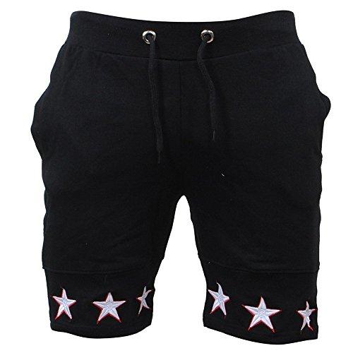 JJLIKER Men's Classic Fit Casual Cotton Jogger Gym Workout Bodybuilding Shorts Pants with Elastic Waist Drawstring Black (Duke Gear Golf)