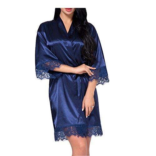 (SexyTown Women's Short Satin Lounge Robes Bridesmaids Charmeuse Lingerie Sleepwear (Large, Dark Blue Lace))