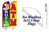 Best Buys Here ATM King Windless Flag w/Kit-Pack of 2