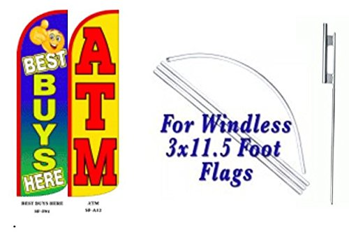 Best Buys Here ATM King Windless Flag w/Kit-Pack of 2 by OnPoint Wares