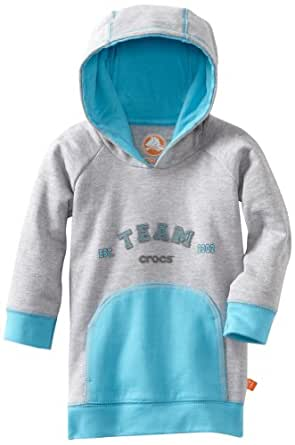 Crocs Unisex Baby Casual Hoodie, Heather Gray Electric Blue, 18 Months