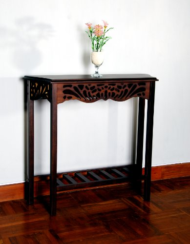 D-ART Winston Carved Wall Table in Mahogany Wood For Sale