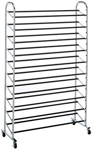 (Whitmor 10 Tier Shoe Tower - 50 Pair - Rolling Shoe Rack with Locking Wheels - Chrome)
