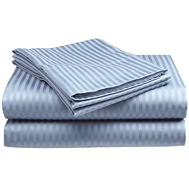 Queen Size Light Blue Classic Sateen Dobby Stripe Sheet Set