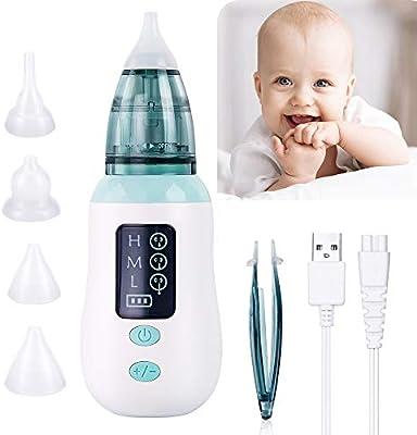 Aspirador Nasal, Aspirador Limpiador de Oidos para Bebés, USB Aspirador Nasal Electrico con Pantalla LED, 4 Boquillas de Succión de Saca Mocos Bebe Reutilizables Limpieza de Nariz para Bebé: Amazon.es: Bebé