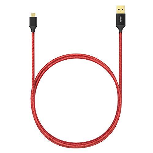 Anker 0.9 m mit Nylon umflochtenes verwicklungssicheres Micro USB Kabel mit vergoldeten Steckern für Android, Samsung, HTC, Nokia, Sony und Andere (Rot)