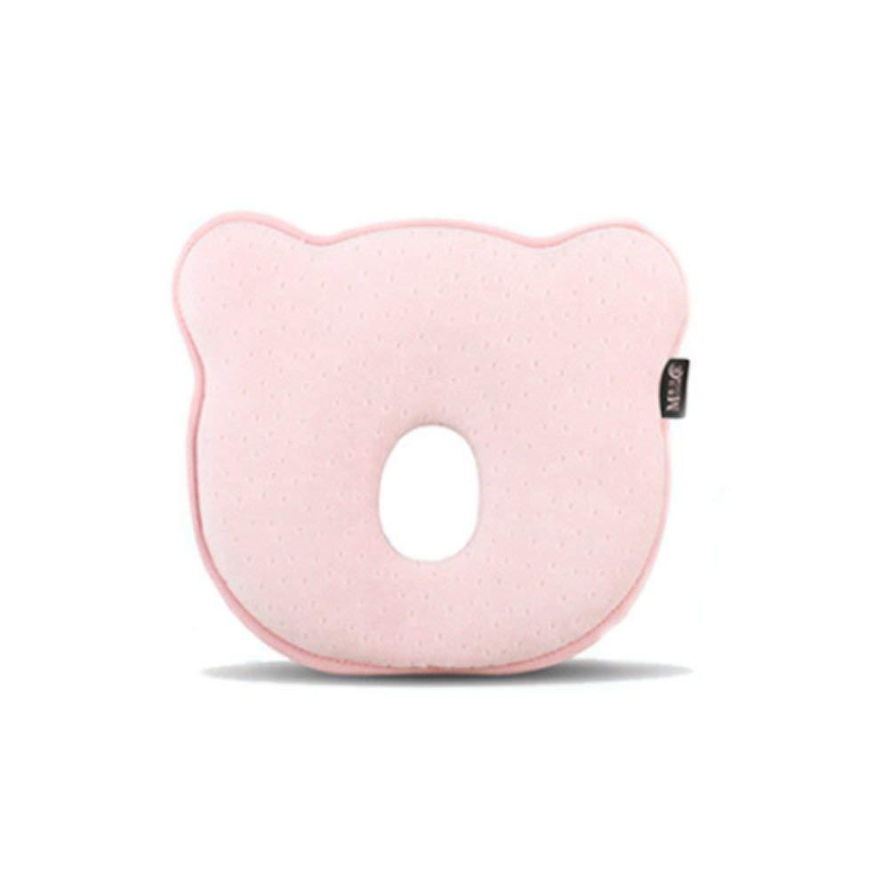 Recién nacido principal del bebé que forma la almohada para dormir transpirable lavable previene la cabeza plana Prevención rosa claro