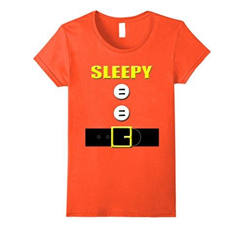 Dwarf Costumes (Womens Group of 7 Halloween Costume Dwarf Fairy Tale T-Shirt Small Orange)