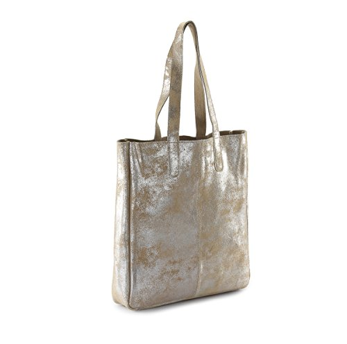 LB32 HYDESTYLE Genuine Rimor Metallic Bag and Leather Tote Suede Beige Metallic 6q76aArp
