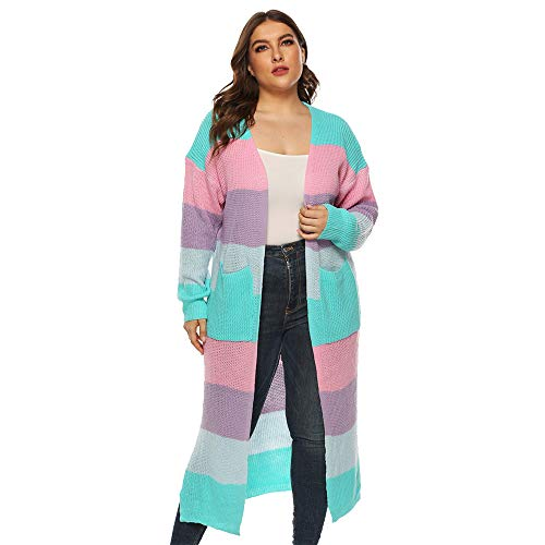 Aniywn Women's Plus Size Long Cardigan Coat Loose Striped Print Knitting Open Cape Tops Blouse with Pocket Green (Cape Mall)