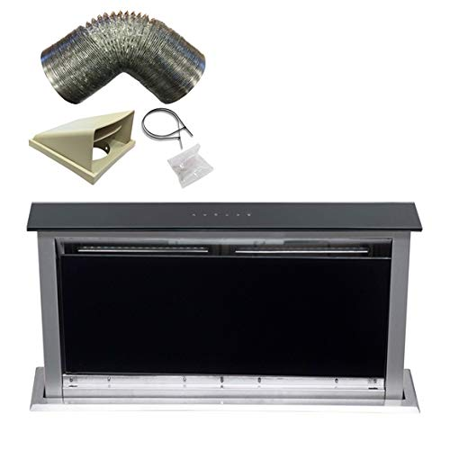 SIA 60cm Touch Control Downdraft Black Cooker Hood Extractor Fan + 3m...