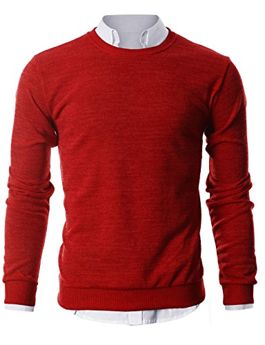 GIVON Mens Slim Fit Light Weight Crew-Neck Pullover Sweater