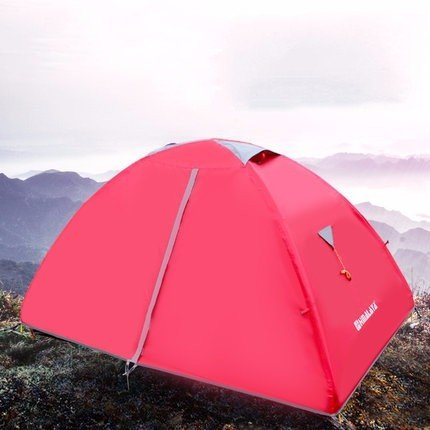 ZHUDJ Feld Camping, Camping Zelte, Outdoor 2 Personen, Liebhaber Regen Double, Double Light Zelte, Gules