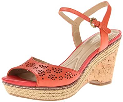 Naturalizer Women's Lailah Wedge,Bright Coral Leather,7.5 N US
