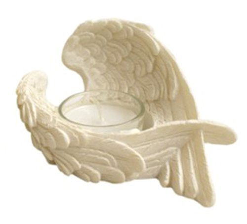 Angel Wings Candle Holder Resin Ornament -with Glass Votive Candle- Width 12cm (Right Design) by Piquaboo