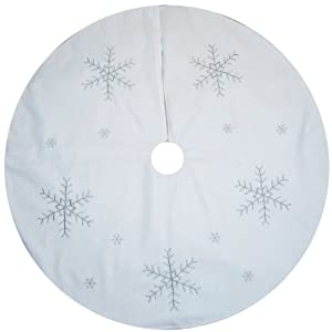 large white christmas tree skirt decoration with silver snowflake design 100cm - Silver Christmas Tree Skirt