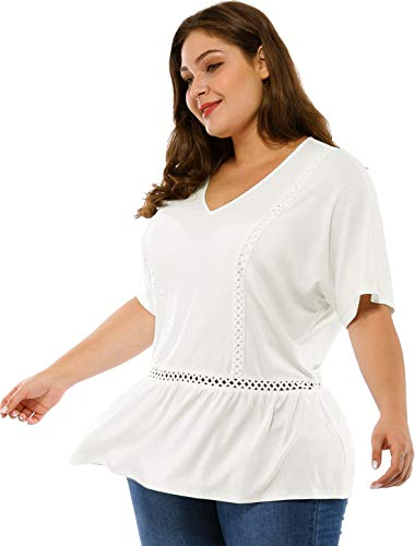 Agnes Orinda Women's Plus Size Casual Tee Shirts V Neck Short Sleeve Flare Peplum Blouse Top 2X White