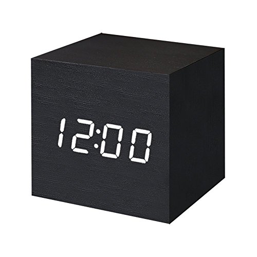 FONCBIEN Despertador Digital LED Madera Mini Reloj grafico Escritorio Viaje Decoration de casa