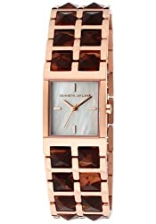 Kenneth Jay Lane Women's KJLANE-1513 1500 Series Mother-Of-Pearl Dial Rose Gold Ion-Plated Stainless Steel and Brown Tortoise Resin Watch