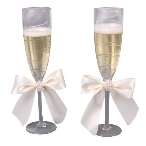 - Jamie Lynn Wedding Accessories Charming Pearls, Champagne Toasting Flutes, Set of 2, Ivory
