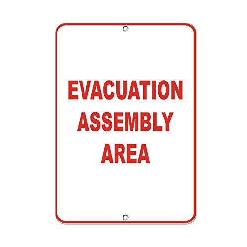 Evacuation Assembly - Evacuation Assembly Area Style 1 Security Sign LABEL DECAL STICKER Sticks to Any Surface 9x12 In