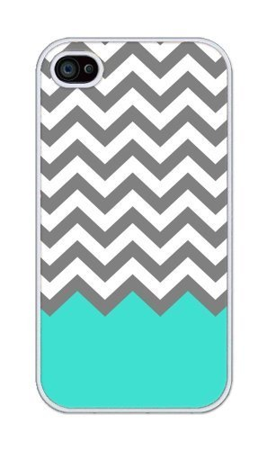 Pattern White Case (Generic Chevron Pattern Turquoise Grey White Plastic For iphone 4 4s case)