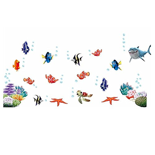 Diy Costume Aquatic Life (Phantomx Fish Finding Underwater Kids room decor Wall sticker Wallpaper wall)