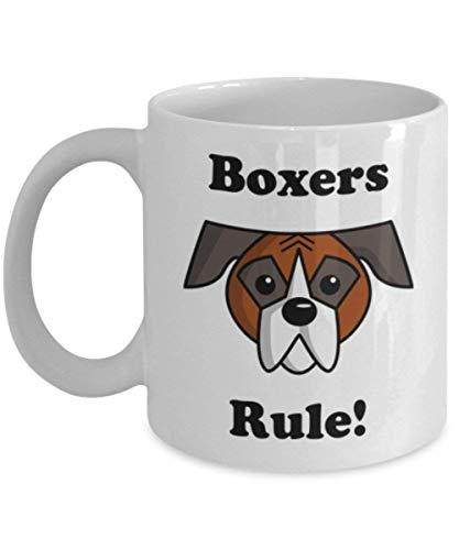 Boxers Rule Mug, Gift for Boxer Mom, Boxer Lovers, Novelty Dog Mug 11 oz. Ceramic Coffee Mug, Funny Cartoon Boxer Coffee Mug by Max&Mori