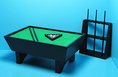 Dollhouse Miniature Pool Table in Black with Complete Accessories CLA - My Mini Fairy Garden Dollhouse Accessories for Outdoor or House Decor